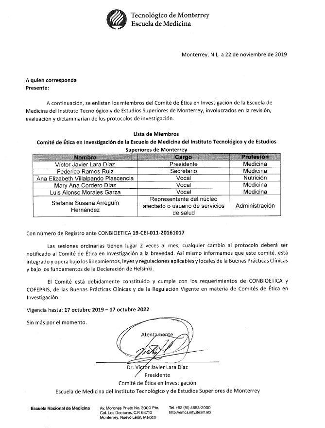 Miembros del Equipo del Comité de Ética en Investigación.